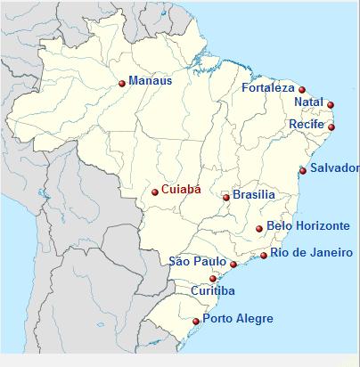 Dunya kupasi 2014 brezilya stadyum haritasi - 2014 FIFA Dünya Kupası Brezilya
