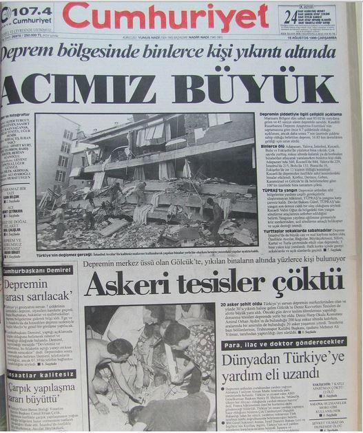 Cumhuriyet-gazetesi-18-agustos-1999 17 Ağustos 1999 Depremi, O Günlerin Gazete Manşetleri