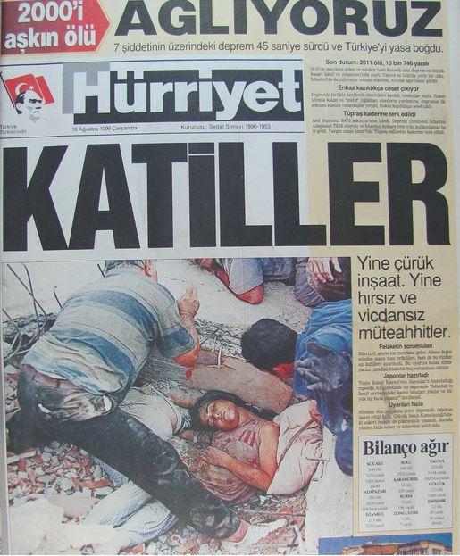 Hurriyet-gazetesi-18-agustos-1999 17 Ağustos 1999 Depremi, O Günlerin Gazete Manşetleri