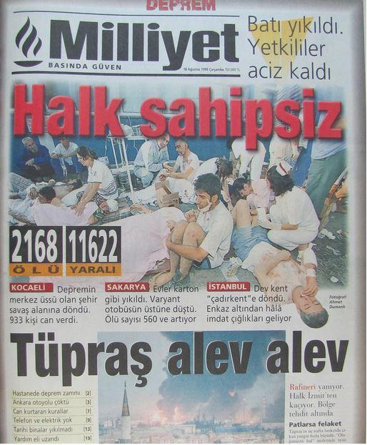 Milliyet-gazetesi-18-agustos-1999 17 Ağustos 1999 Depremi, O Günlerin Gazete Manşetleri