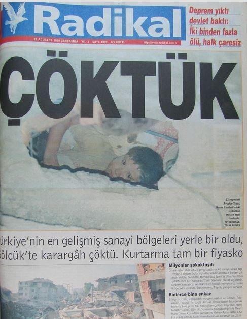 Radikal-gazete-18-agustos-1999 17 Ağustos 1999 Depremi, O Günlerin Gazete Manşetleri
