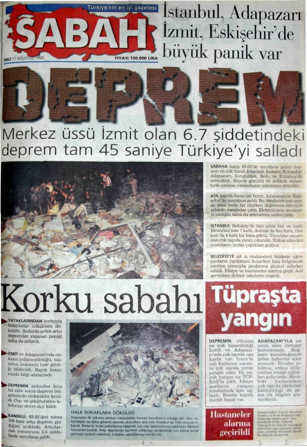 Sabah-gazetesi-17-agustos-1999 17 Ağustos 1999 Depremi, O Günlerin Gazete Manşetleri