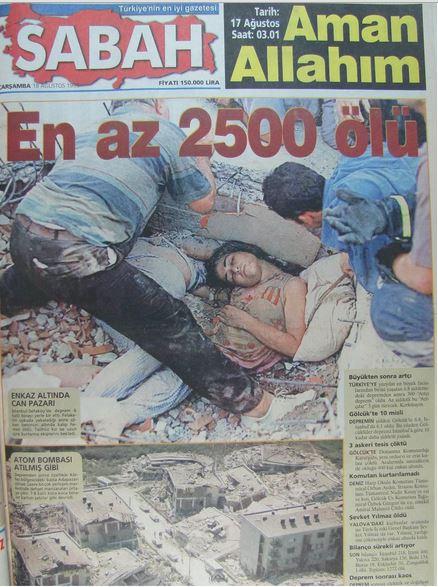 Sabah-gazetesi-18-agustos-1999 17 Ağustos 1999 Depremi, O Günlerin Gazete Manşetleri