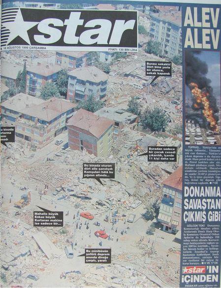 Star-gazetesi-17-agustos-1999 17 Ağustos 1999 Depremi, O Günlerin Gazete Manşetleri