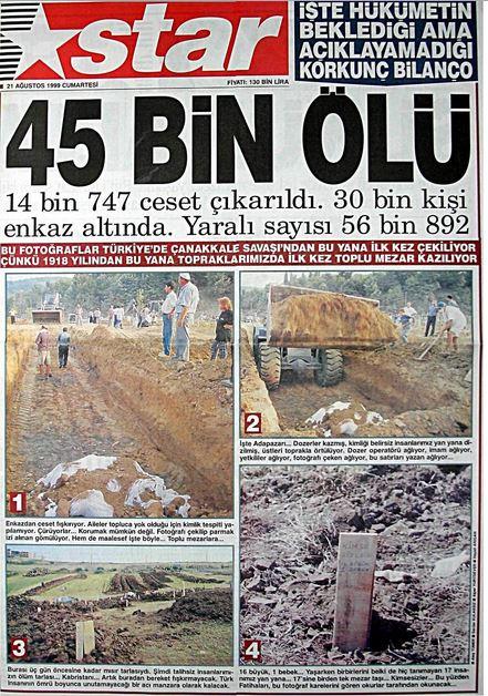 Star-gazetesi-21-agustos-1999 17 Ağustos 1999 Depremi, O Günlerin Gazete Manşetleri